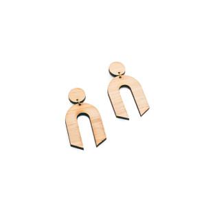 Wishbone Earrings ,Geometric wood Earrings  zero waste