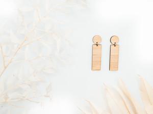 Minimalist Wooden Bar Earrings,