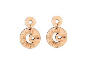 Star and moon earrings,  moon drop wood earrings, moon bamboo earrings