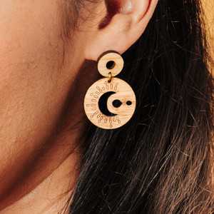 sun and moon earrings, celestial wood earrings