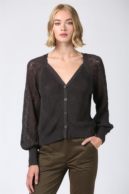 Long Sleeve Relax Fit  Charcoal Button Front Cardigan