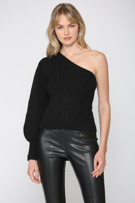 ONE SHOULDER CABLE KNIT SWEATER TOP