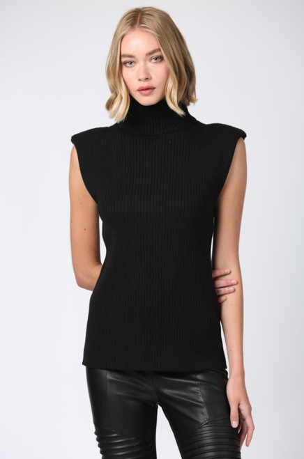 SLEEVELESS RIBBED FITTED TURTLENECK