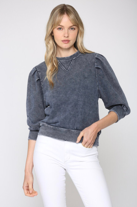 STRUCTURED  3/4 SLEEVE TERRY CLOTH CROPPED SWEATSHIRT