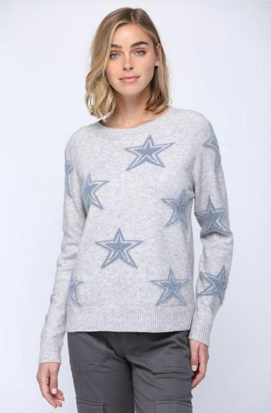 Heather Grey Intarsia Star Sweater