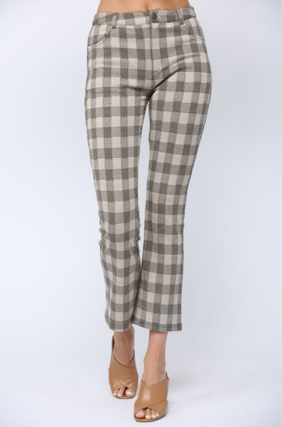 Flared Plaid Pants