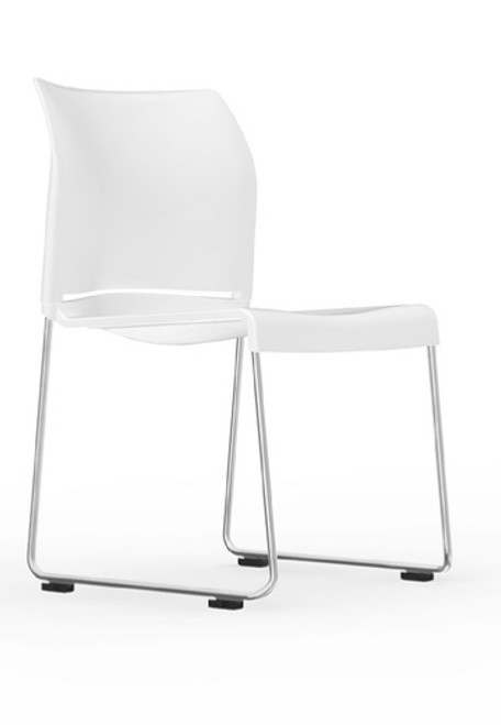 I-Desk Pommerac High Density Sled Base Stack Chair in white