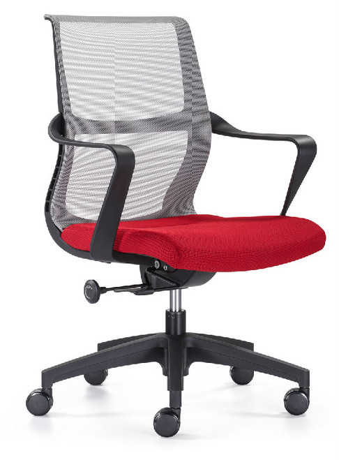 Red Seat Grey Elastomeric Mesh Back
