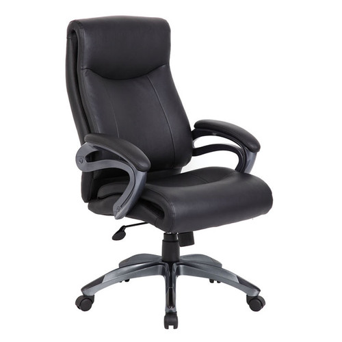 Executive Leather Swivel Chair in Black LeatherPlus