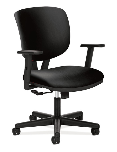 Hon Volt Center-Tilt Non-Mesh Task Chair in black leather with arms