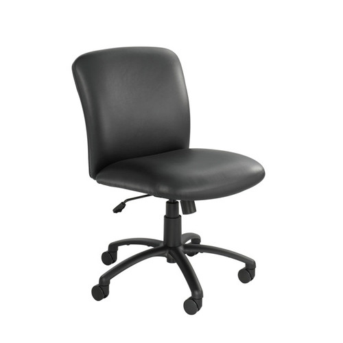 Black Vinyl Mid Back, Big and Tall Swivel Chair No Arms