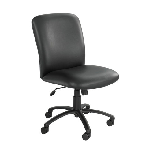 Black Vinyl High Back, Big and Tall Swivel Chair No Arms