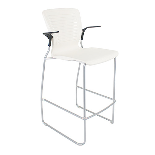 "Active Cafe Stool, Arctic White, standard 30"" seat height"