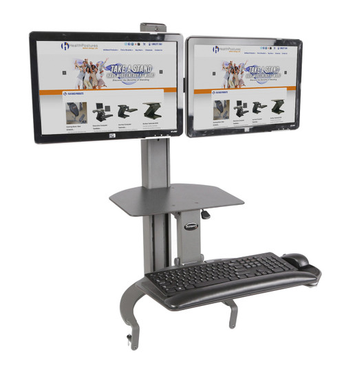 "TaskMate Go Dual Monitor Desk Top Sit Stand Handles up to two (2) 26""W LCD screens"