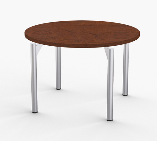"Reveal Hospitality Table in Cherry, 36"" with Optional Metallic Silver Leg Finish"