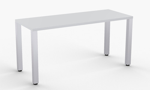 "Quatro Training Table in Grey, 24"" x 60"" with Optional Metallic Silver Leg Finish"