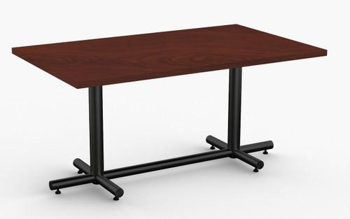 """Maxim Hospitality Table in Mahogany, 30"""" x 60"""" with Standard Black Leg Finish"""