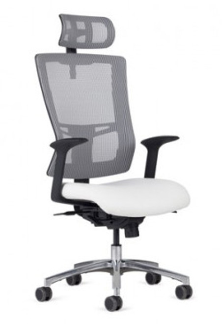 Management High Back and Head Rest shown in Starlight Silver Mesh, AR-11 arms, optional polished aluminum package, and dual color soft casters (additional charges may apply).
