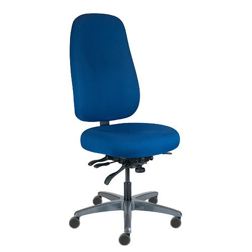 Intensive Use Heavy Duty Tall Back Tasker no arms, in Basic Blue with Aluminum base