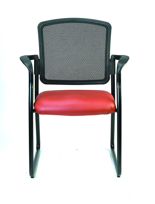 Dakota2 Upholstered Mesh Back Guest Chair, Castillo Vinyl in Red