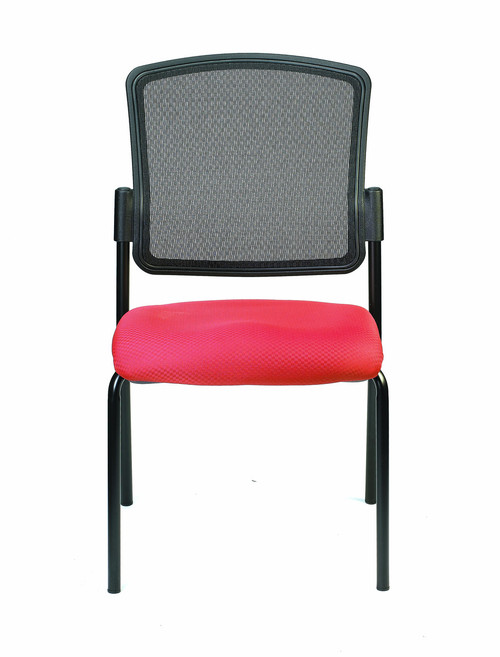 Dakota2 Upholstered Mesh Back Guest Chair, Insight fabric in Real Red