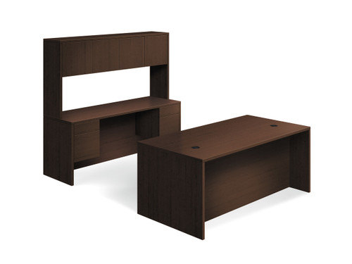 """Hon 10500 Series 72"""" Workstation with Overhead Storage in Mocha"""