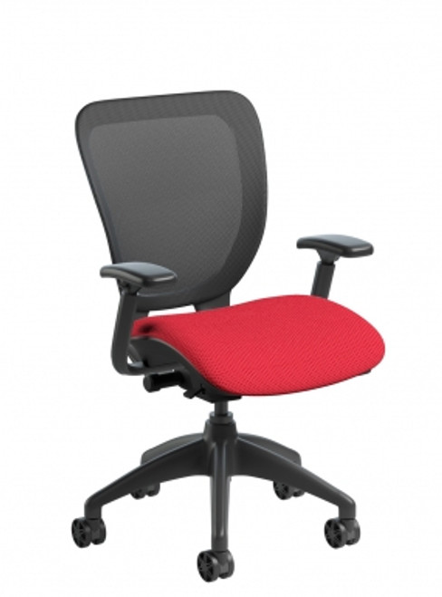 WXO Mesh Task Chair with Upholstered Seat, black base and mesh; in Ace Engine