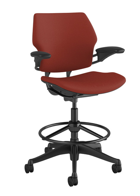 """Freedom Drafting Stool in Corde4 Parma Red with an 20"""" Foot Ring"""