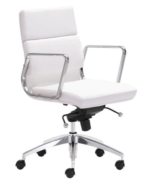 Engineer Mid Back in white leatherette