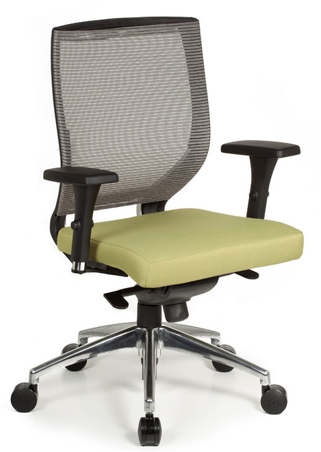 Malla High Back Swivel Tilt, grey mesh, polished aluminum base in Reflex Grade Cornerblock Eucalyptus
