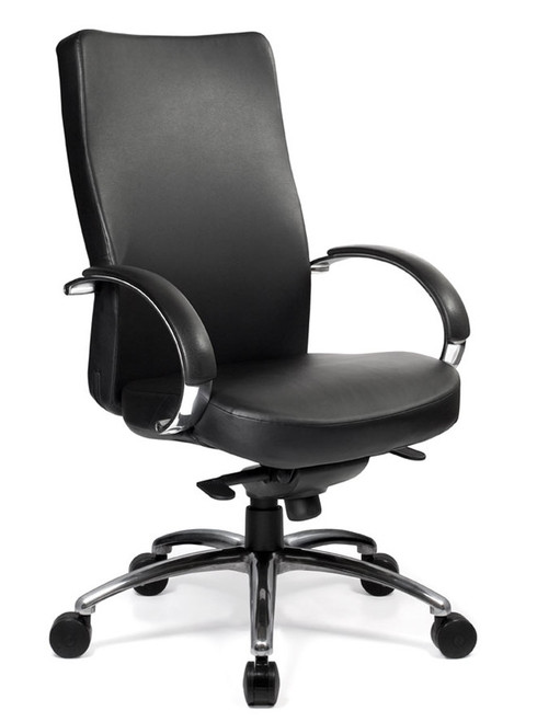 Ovation High Back Synchro-tilt Conference Chair with Fixed Polished Aluminum (29P) arms, in Grade B Canter Vinyl Onyx