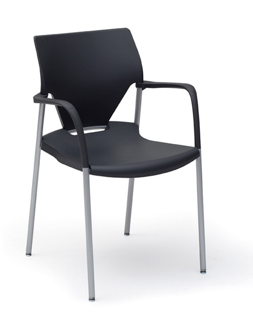 Arriva Stacking Chair on glides, with chrome frame finish, black plastic seat and black arms