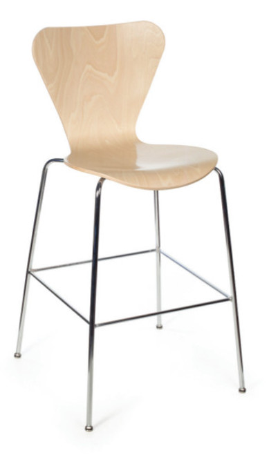 Clover Wood Stool in Maple with Chrome frame finish (this version with black frame is standard)