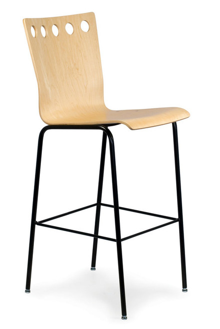 Golf Wood Stool with standard black frame and Maple seat- Quickship version in counter or bar height