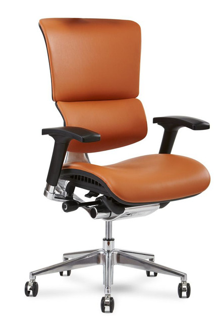X4 Leather Executive Task Chair without Headrest, Top Grain Cognac Leather