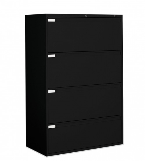 4 Drawer Lateral File in Black, 36""