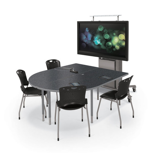 MediaSpace Multimedia Table in Graphite Nebula with platinum legs and edgebanding
