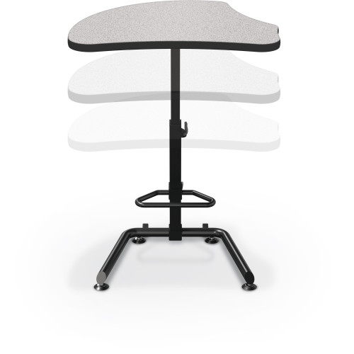 Up-Rite Harmony Sit-Stand Desk in Gray Nebula, with 2 casters so that it can be lifted from one side and easily moved!