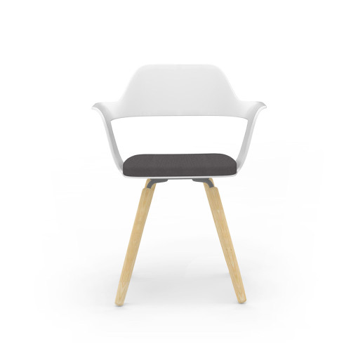 Muse Chair with White Shell and wood grain legs, optional seat cushion in Coal