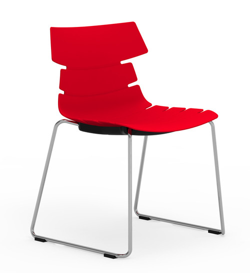 Tikal Shell Chair in Traffic Red, Sled base