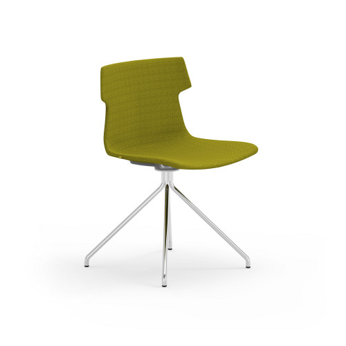 Tikal Upholstered Shell Chair in Moss with Four Leg Base