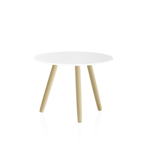 Muse Glasstop Table with wood grain legs