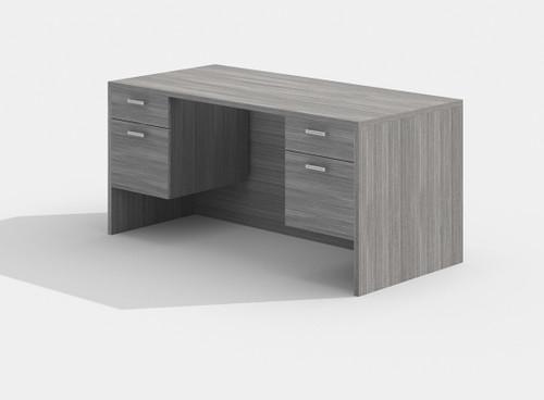 Amber Double Suspended Pedestal Desk in Grey