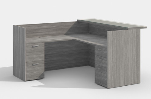 Amber  L-Desk with Wood Transaction Top in Grey