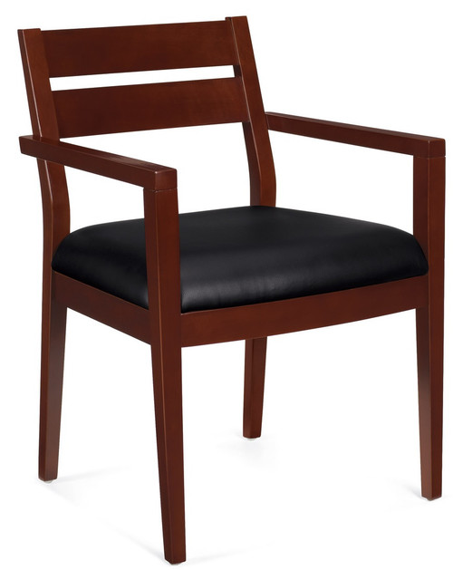 Offices to Go Luxhide Wood Guest Chair in Cordovan Wood Finish