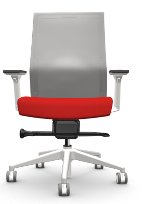 Zilo Grey Frame Conference Task Chair in Red with 3-way adjusting arms, grey base