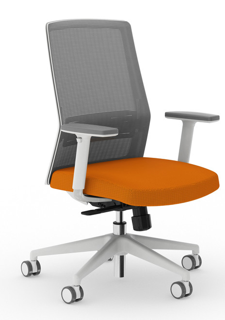 Bodi Synchro-Tilt Task Chair with light grey frame and mesh,  Carrot seat cover fabric