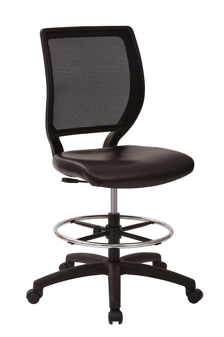 Deluxe Woven Mesh Back Armless Drafting Chair / Easy Clean Urethane Seat