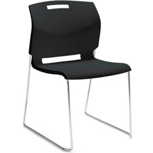 Global Popcorn Armless Guest Chair in Asphalt Night (BLK)