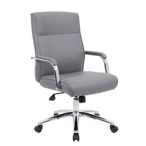 Conference Chair with Lumbar Grey Leatherette